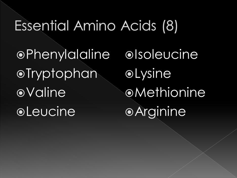  Phenylalaline  Tryptophan  Valine  Leucine  Isoleucine  Lysine  Methionine  Arginine