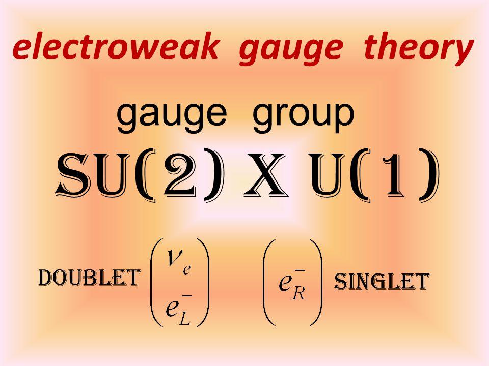 electroweak gauge theory gauge group SU(2) x U(1) doublet singlet