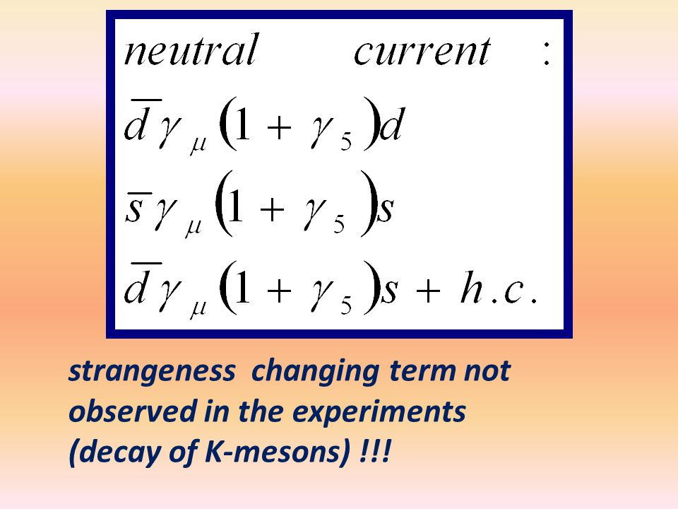strangeness changing term not observed in the experiments (decay of K-mesons) !!!