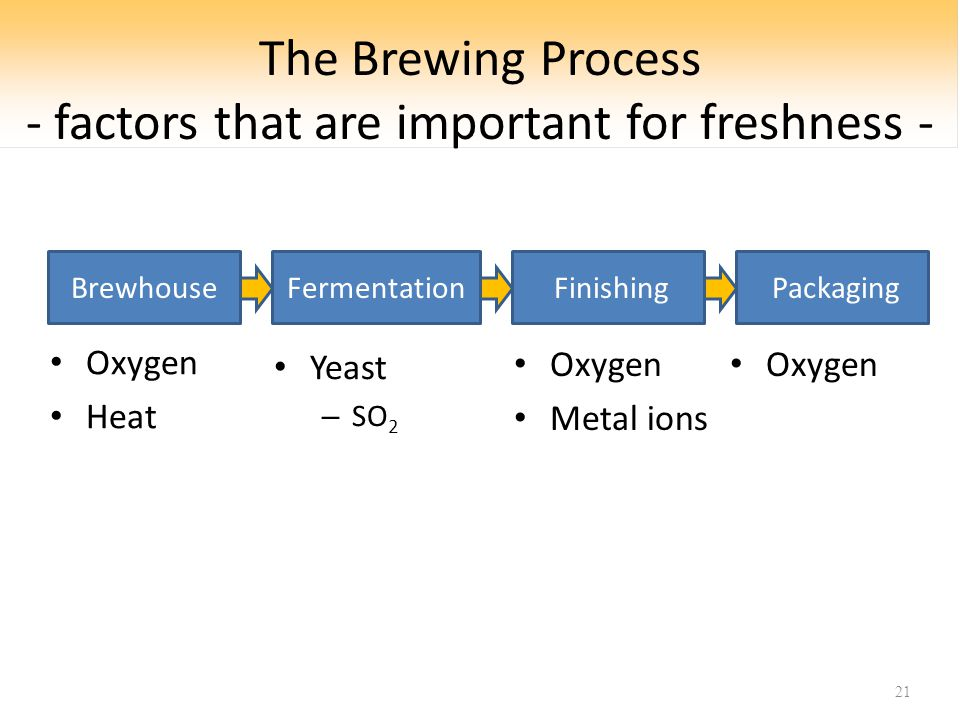 The Brewing Process - factors that are important for freshness - Yeast – SO 2 21 BrewhouseFermentation Finishing Packaging Oxygen Metal ions Oxygen Heat Oxygen