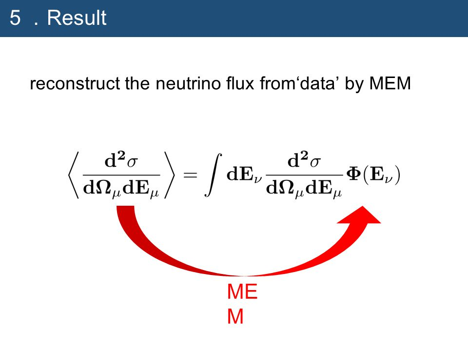 ME M 5. Result reconstruct the neutrino flux from'data' by MEM