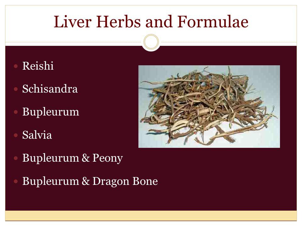 Liver Herbs and Formulae Reishi Schisandra Bupleurum Salvia Bupleurum & Peony Bupleurum & Dragon Bone