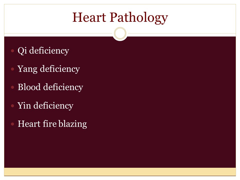 Heart Pathology Qi deficiency Yang deficiency Blood deficiency Yin deficiency Heart fire blazing