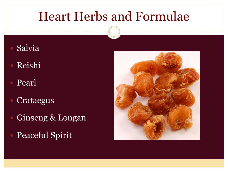 Heart Herbs and Formulae Salvia Reishi Pearl Crataegus Ginseng & Longan Peaceful Spirit