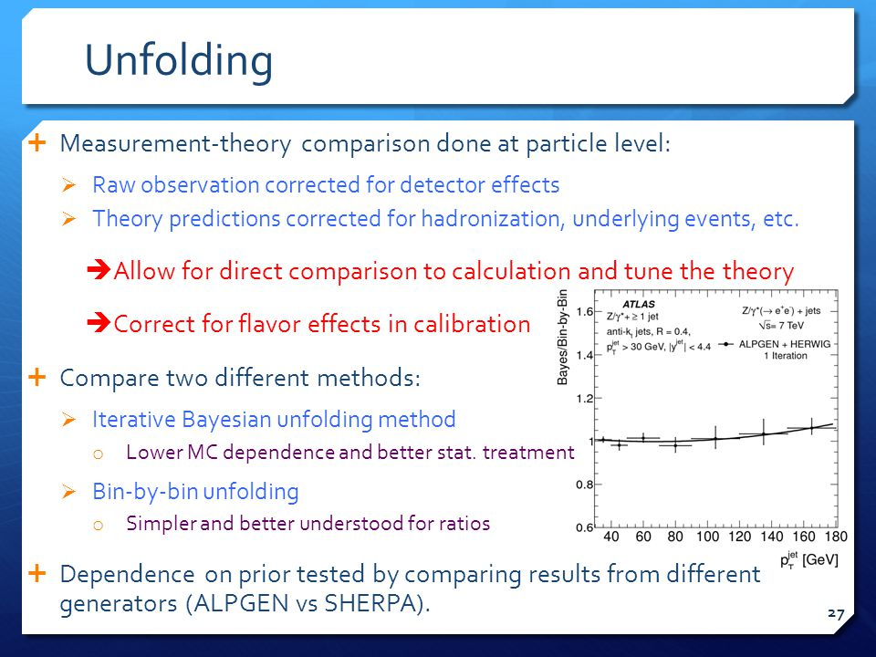 Unfolding  Measurement-theory comparison done at particle level:  Raw observation corrected for detector effects  Theory predictions corrected for hadronization, underlying events, etc.