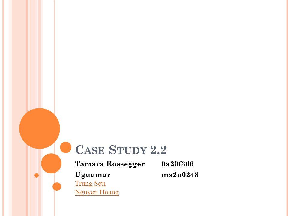 C ASE S TUDY 2.2 Tamara Rossegger 0a20f366 Uguumurma2n0248 Trung S ơ n Nguyen Hoang Trung S ơ n Nguyen Hoang