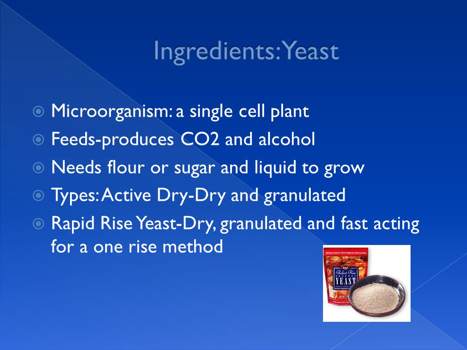  Microorganism: a single cell plant  Feeds-produces CO2 and alcohol  Needs flour or sugar and liquid to grow  Types: Active Dry-Dry and granulated  Rapid Rise Yeast-Dry, granulated and fast acting for a one rise method