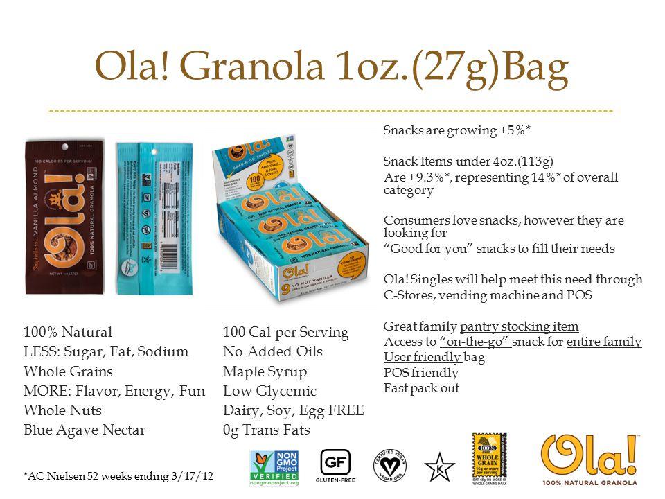 Ola! Granola 1oz.(27g)Bag 100% Natural100 Cal per Serving LESS: Sugar, Fat, SodiumNo Added Oils Whole GrainsMaple Syrup MORE: Flavor, Energy, FunLow G