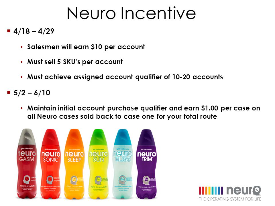  4/18 – 4/29 Salesmen will earn $10 per account Must sell 5 SKU's per account Must achieve assigned account qualifier of 10-20 accounts  5/2 – 6/10 Maintain initial account purchase qualifier and earn $1.00 per case on all Neuro cases sold back to case one for your total route Neuro Incentive
