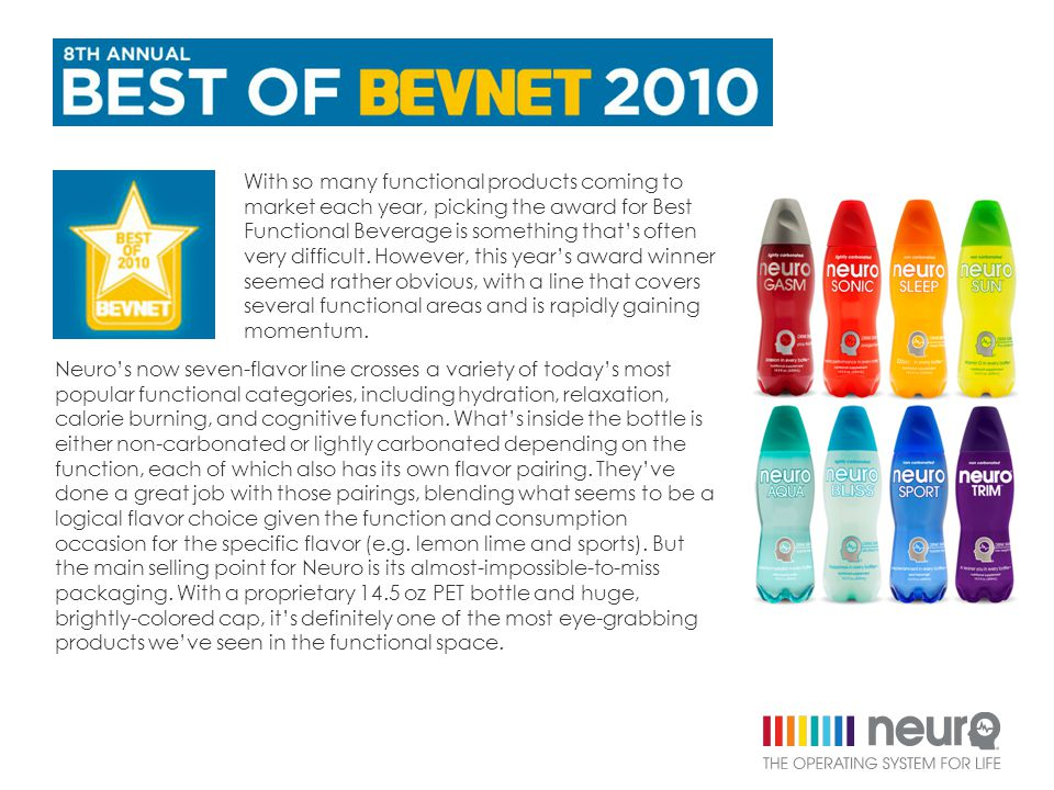 With so many functional products coming to market each year, picking the award for Best Functional Beverage is something that's often very difficult.