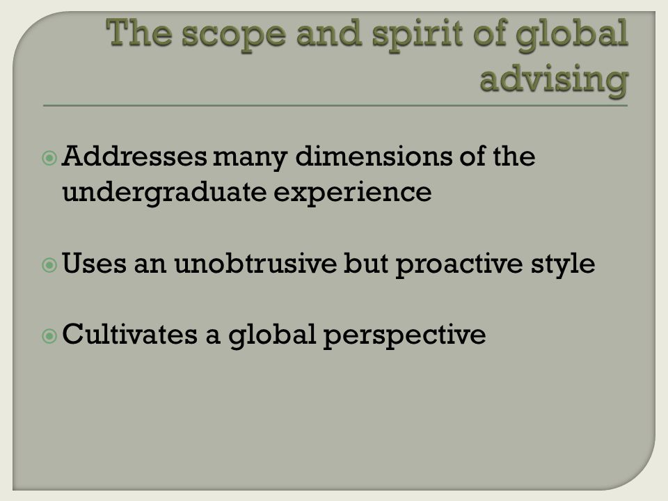 Addresses many dimensions of the undergraduate experience  Uses an unobtrusive but proactive style  Cultivates a global perspective