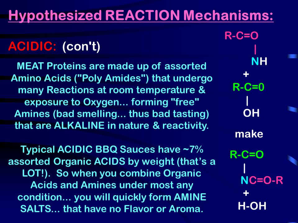 Hypothesized REACTION Mechanisms: ACIDIC: (con t) MEAT Proteins are made up of assorted Amino Acids ( Poly Amides ) that undergo many Reactions at room temperature & exposure to Oxygen...