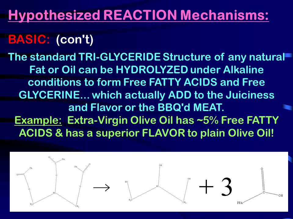 Hypothesized REACTION Mechanisms: BASIC: (con t) The standard TRI-GLYCERIDE Structure of any natural Fat or Oil can be HYDROLYZED under Alkaline conditions to form Free FATTY ACIDS and Free GLYCERINE...