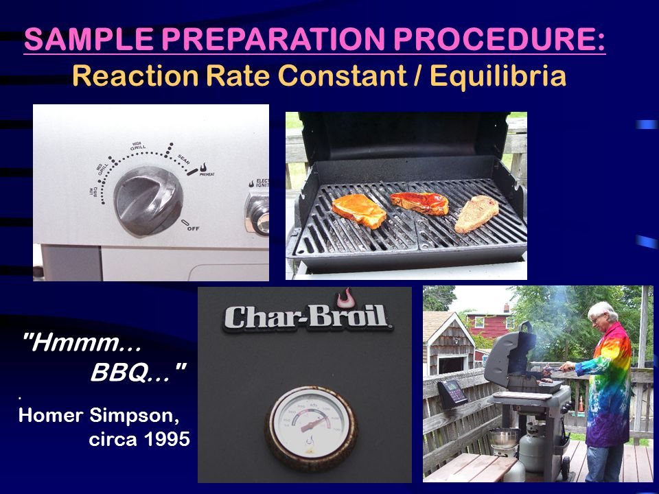 SAMPLE PREPARATION PROCEDURE: Reaction Rate Constant / Equilibria Hmmm...