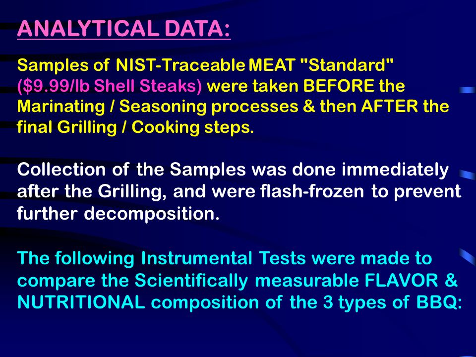 ANALYTICAL DATA: Samples of NIST-Traceable MEAT Standard ($9.99/lb Shell Steaks) were taken BEFORE the Marinating / Seasoning processes & then AFTER the final Grilling / Cooking steps.