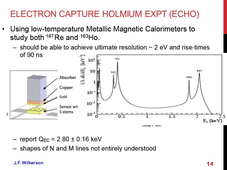 14 J.F. Wilkerson 187 ELECTRON CAPTURE HOLMIUM EXPT (ECHO)
