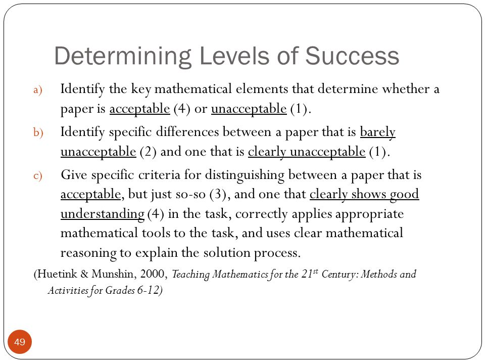 Determining Levels of Success a) Identify the key mathematical elements that determine whether a paper is acceptable (4) or unacceptable (1). b) Ident