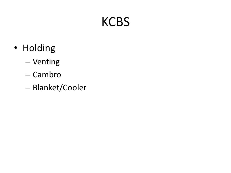 KCBS Holding – Venting – Cambro – Blanket/Cooler