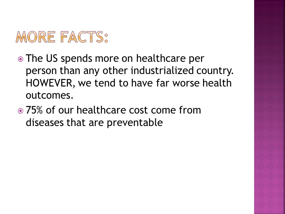  The US spends more on healthcare per person than any other industrialized country.
