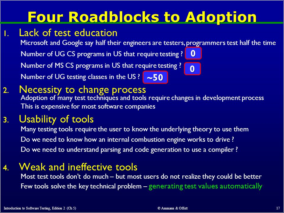 Four Roadblocks to Adoption Introduction to Software Testing, Edition 2 (Ch 5) © Ammann & Offutt 17 1.