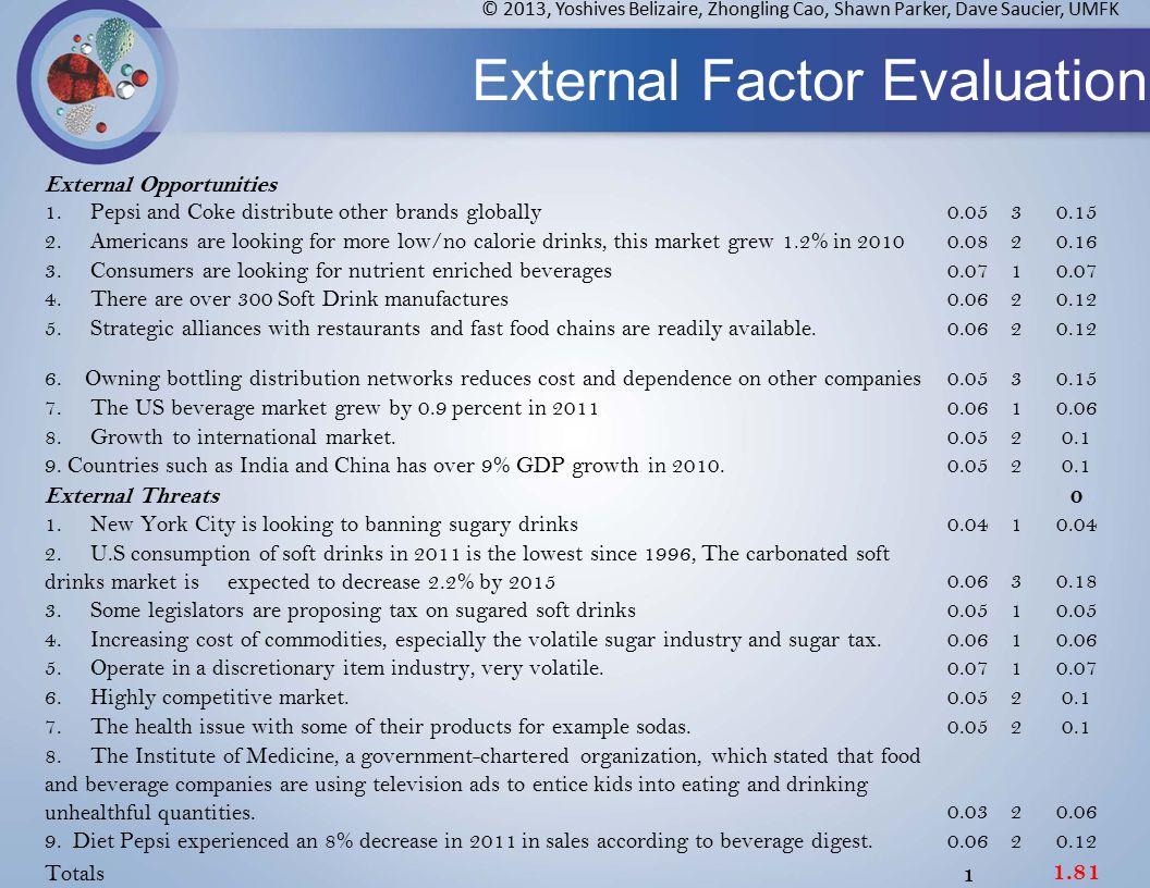 External Factor Evaluation © 2013, Yoshives Belizaire, Zhongling Cao, Shawn Parker, Dave Saucier, UMFK External Opportunities 1.