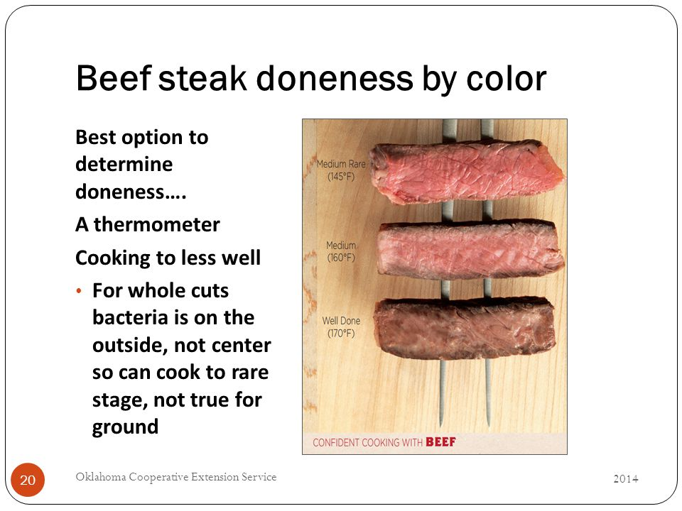 Beef steak doneness by color Best option to determine doneness….