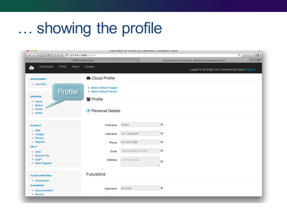 … showing the profile Profile