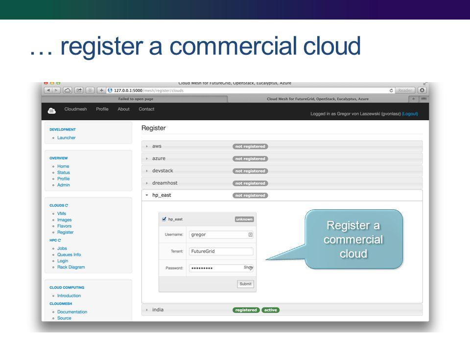 … register a commercial cloud Register a commercial cloud