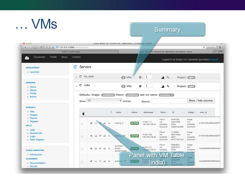 … VMs Panel with VM Table (india) Summary