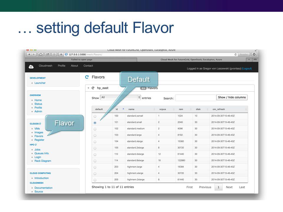 … setting default Flavor Flavor Default