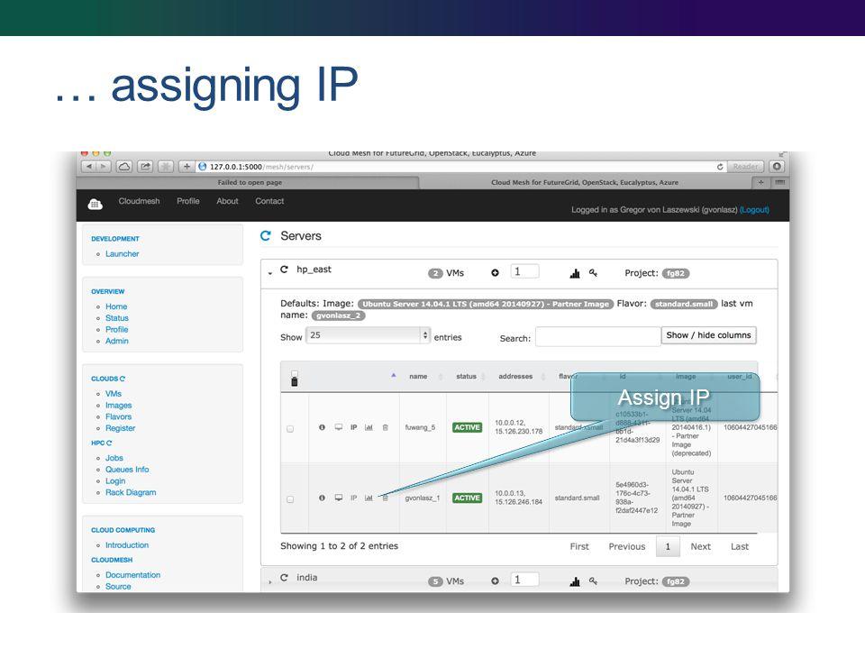 … assigning IP Assign IP