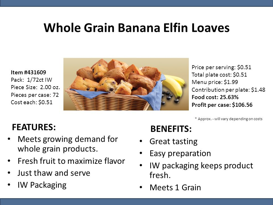Item #431609 Pack: 1/72ct IW Piece Size: 2.00 oz. Pieces per case: 72 Cost each: $0.51 Whole Grain Banana Elfin Loaves Price per serving: $0.51 Total