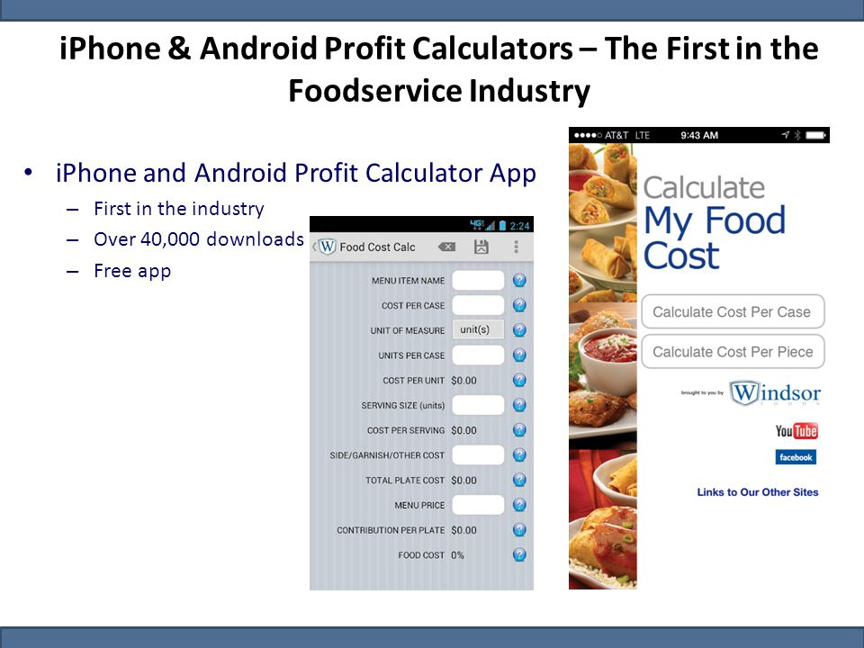 iPhone & Android Profit Calculators – The First in the Foodservice Industry iPhone and Android Profit Calculator App – First in the industry – Over 40,000 downloads – Free app