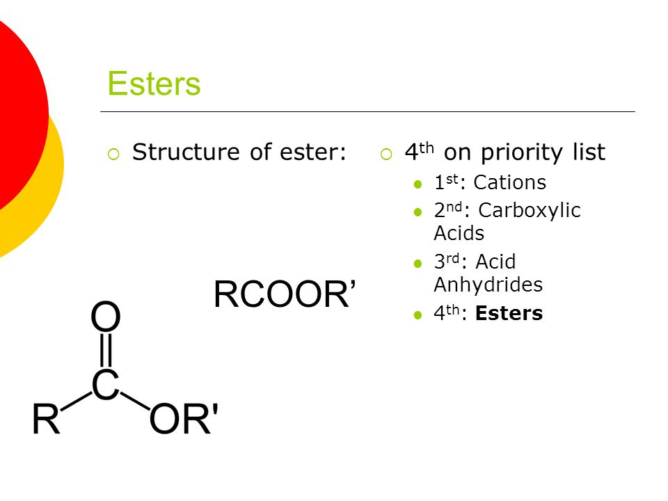 Esters  Structure of ester:  4 th on priority list 1 st : Cations 2 nd : Carboxylic Acids 3 rd : Acid Anhydrides 4 th : Esters RCOOR'