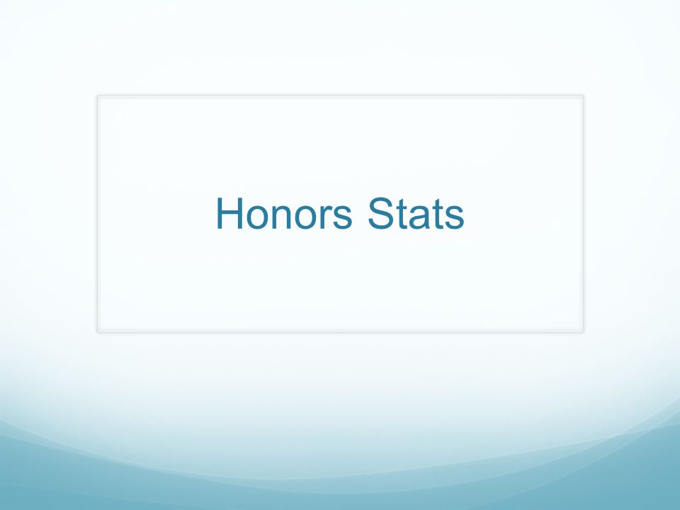 Honors Stats