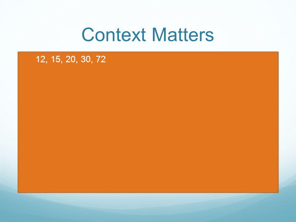 Context Matters 12, 15, 20, 30, 72