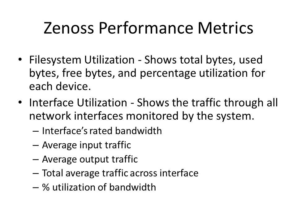 Zenoss Performance Metrics Filesystem Utilization - Shows total bytes, used bytes, free bytes, and percentage utilization for each device. Interface U