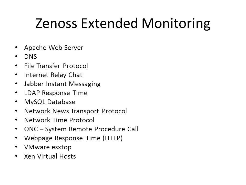 Zenoss Extended Monitoring Apache Web Server DNS File Transfer Protocol Internet Relay Chat Jabber Instant Messaging LDAP Response Time MySQL Database