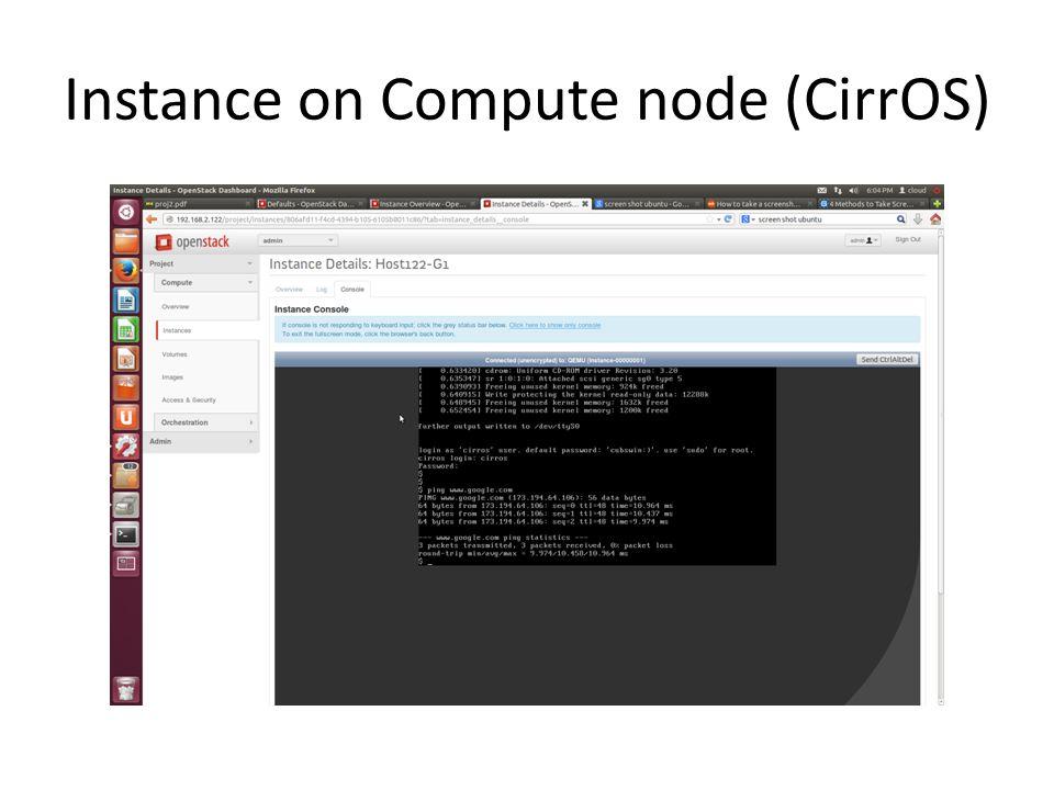 Instance on Compute node (CirrOS)