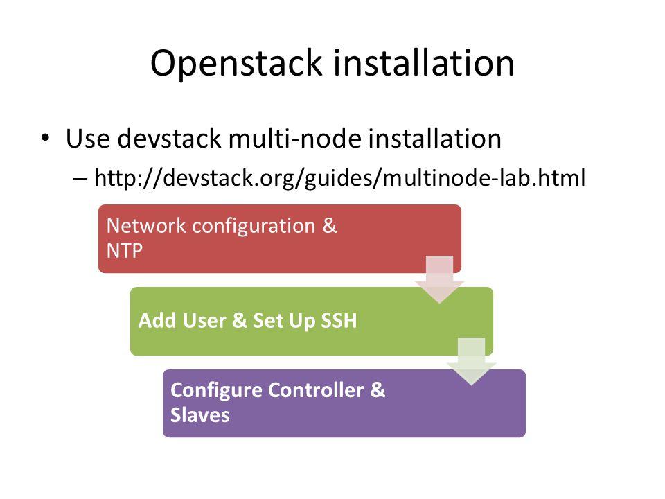 Openstack installation Use devstack multi-node installation – http://devstack.org/guides/multinode-lab.html Network configuration & NTP Add User & Set