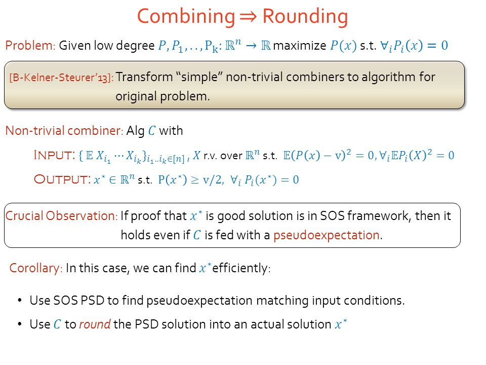 [B-Kelner-Steurer'13] : Transform simple non-trivial combiners to algorithm for original problem.