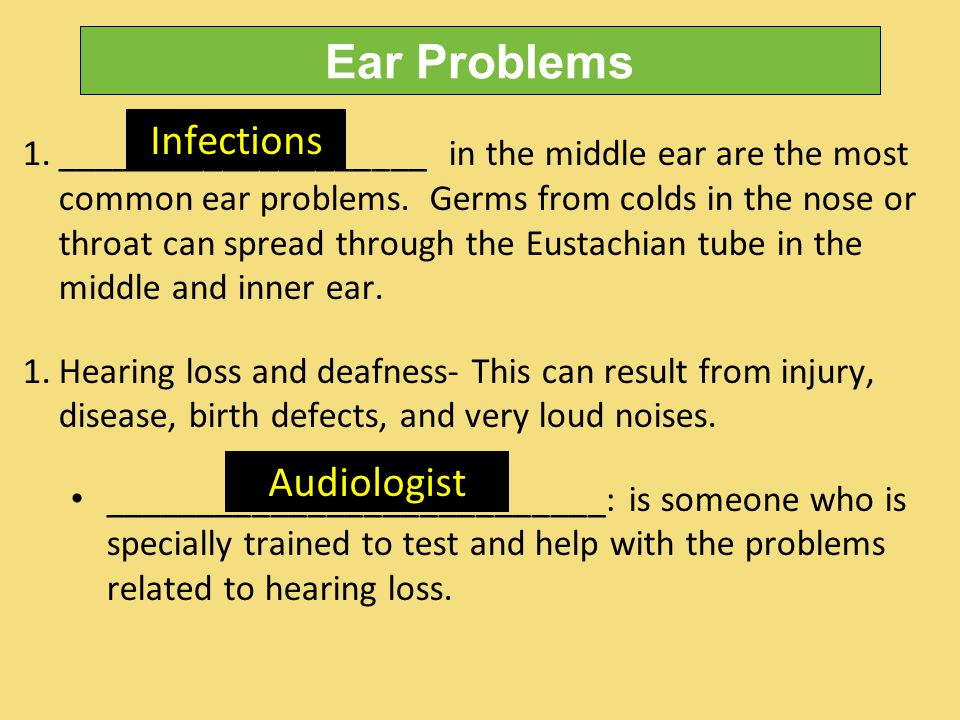 Ear Problems 1.____________________ in the middle ear are the most common ear problems.
