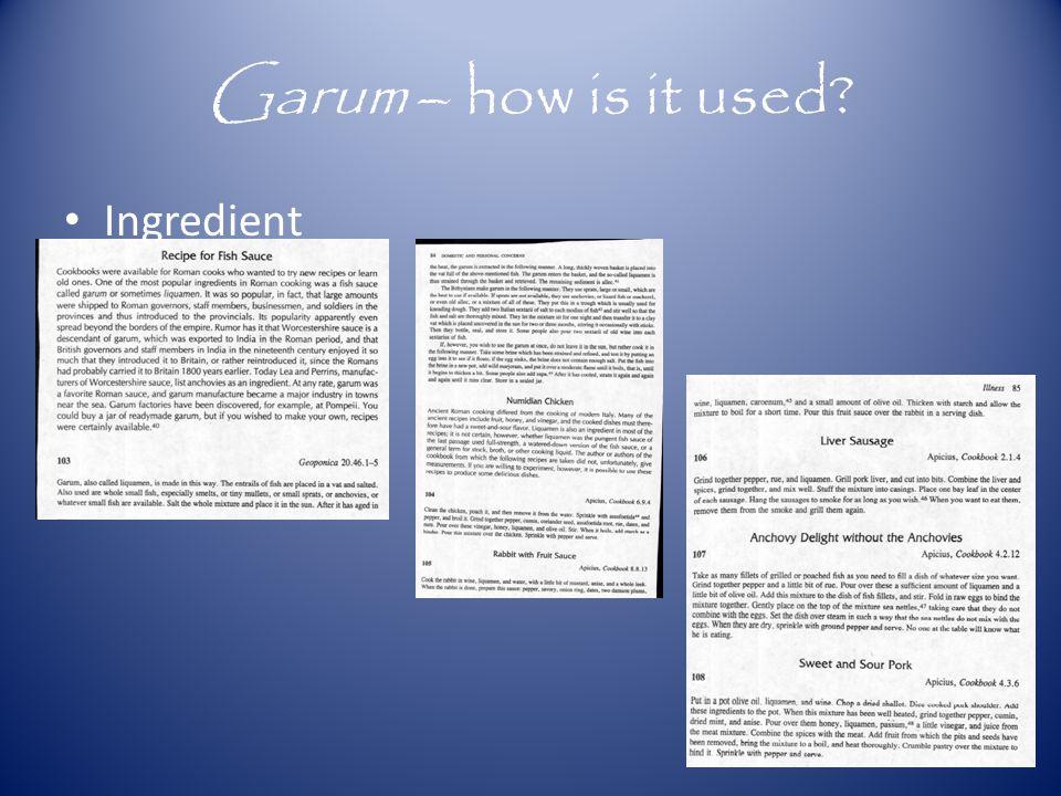 Garum – how is it used? Ingredient