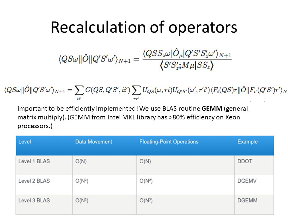 Recalculation of operators Important to be efficiently implemented.