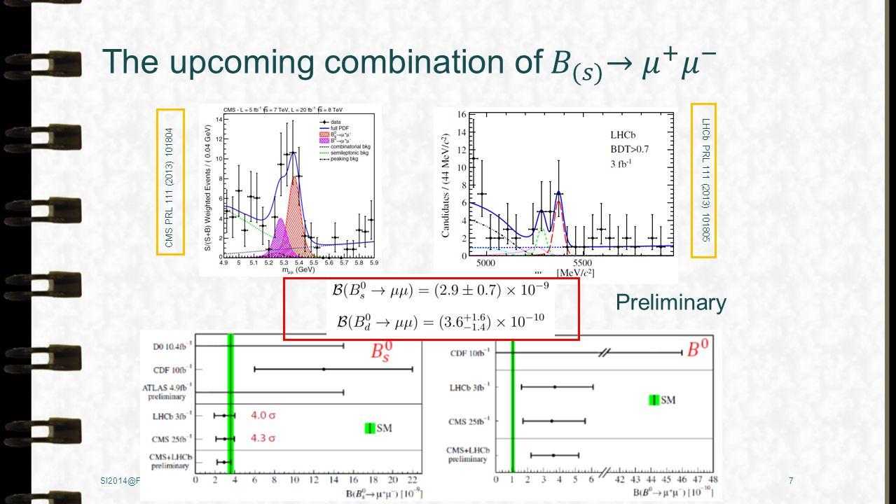 7Fanrong Xu CMS PRL 111 (2013) 101804 LHCb PRL 111 (2013) 101805 Preliminary 3σ 3σ SI2014@Fuji Yoshida