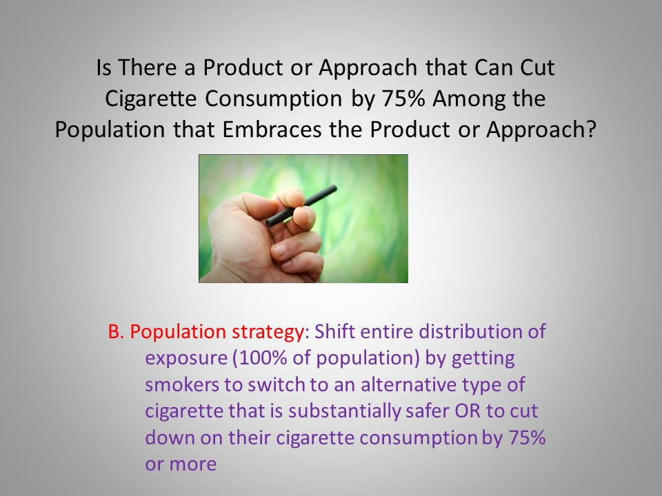 B. Population strategy: Shift entire distribution of exposure (100% of population) by getting smokers to switch to an alternative type of cigarette th