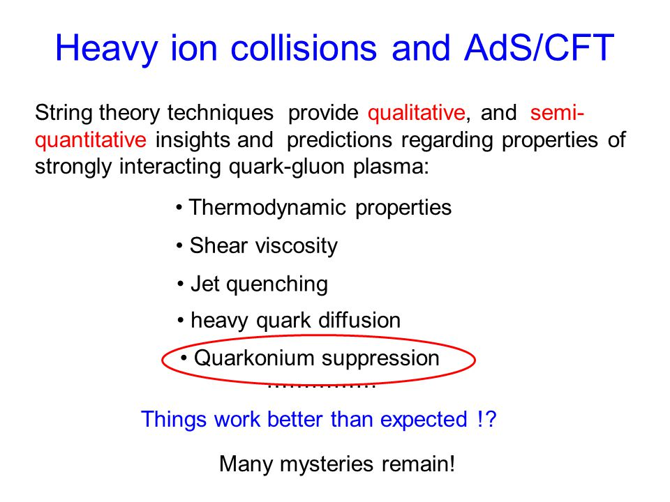 Heavy ion collisions and AdS/CFT String theory techniques provide qualitative, and semi- quantitative insights and predictions regarding properties of strongly interacting quark-gluon plasma: Shear viscosity Jet quenching Quarkonium suppression Things work better than expected !.