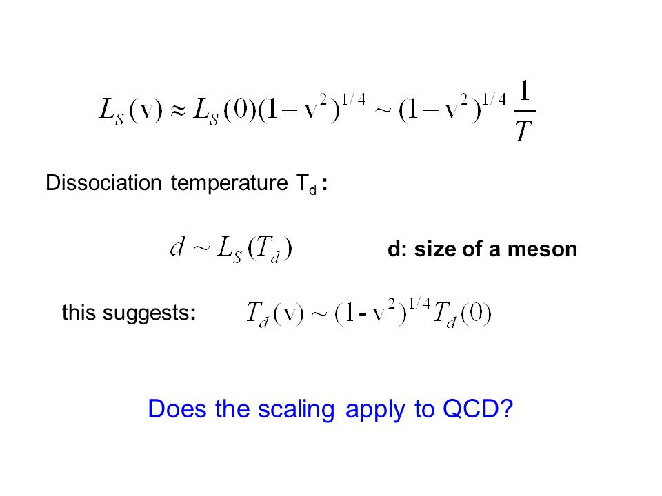 Dissociation temperature T d : d: size of a meson this suggests: Does the scaling apply to QCD
