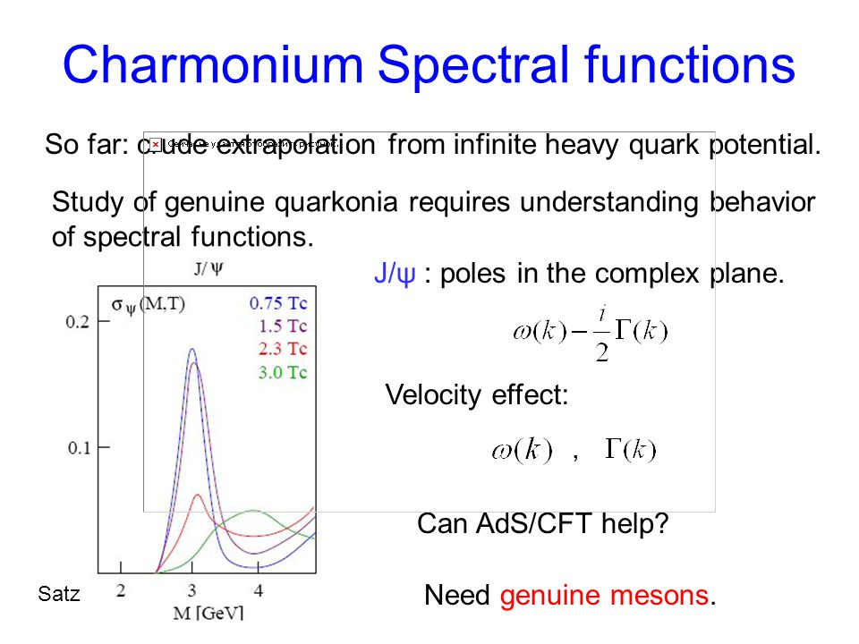 Charmonium Spectral functions Study of genuine quarkonia requires understanding behavior of spectral functions.