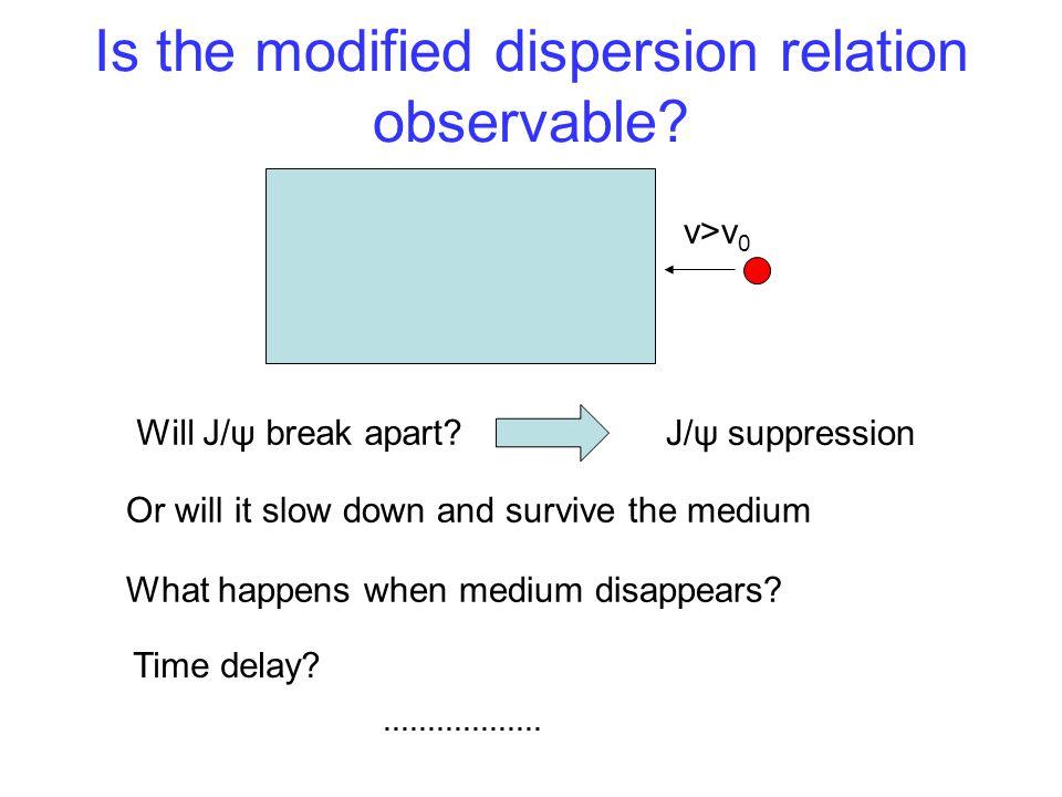 Is the modified dispersion relation observable. v>v 0 Will J/ψ break apart.